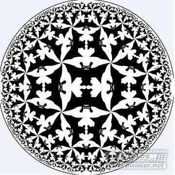尽管这些几何艺术作品都是在以二维空间进行描绘,但是却体现出双曲