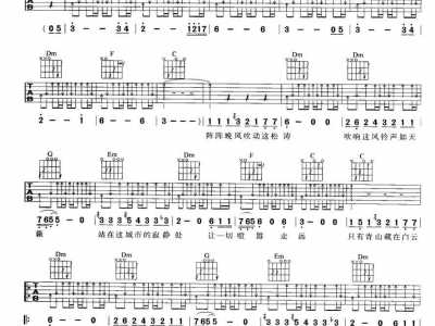 许巍旅行吉他谱 最易上手吉他弹唱谱图片