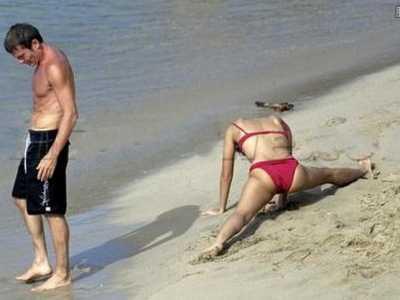 章子怡沙滩图片 章子怡沙滩高清图片相当露骨